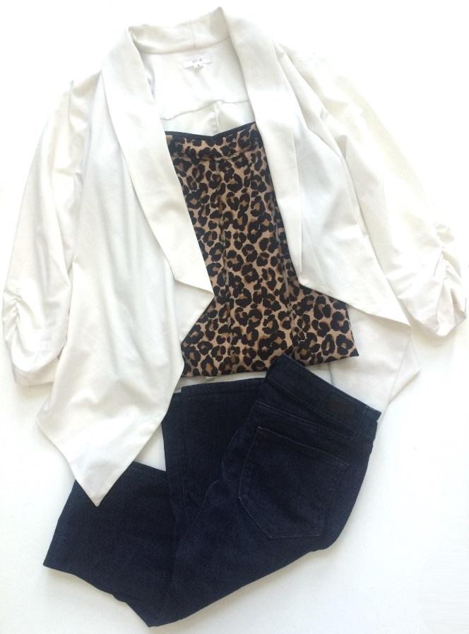 Blazer, Prestige / Tank, White House | Black Market / Jeans, Paige from Nordstrom